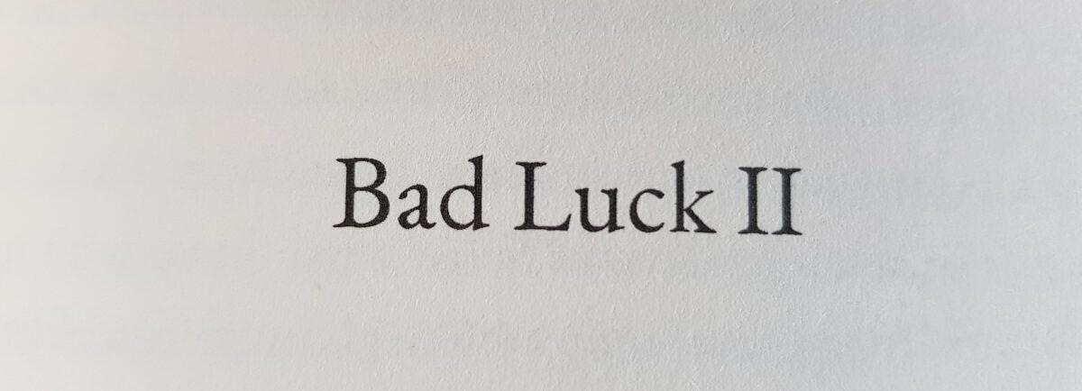 Erschütterungen. Dann Stille.: Bad Luck II